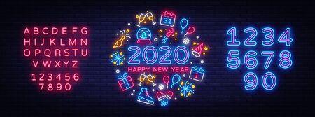 Frohes neues Jahr 2020 Neon Icons Set Vektor. Frohe Weihnachten Sammlung Leuchtreklamen. Helle Schilder, helles Banner. Modernes Trenddesign, Nachtlichtschild, Embleme. Vektor. Bearbeiten von Textleuchtreklamen. Vektorgrafik