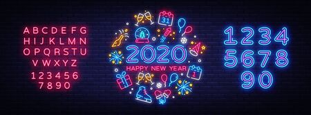 Happy New Year 2020 neon icons set vector. Merry Christmas collection neon signs. Bright sign boards, light banner. Modern trend design, night light signboard, emblems. Vector. Editing text neon sign. Stock Illustratie