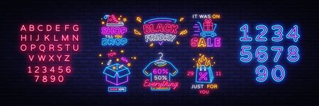 Big set Black Friday Neon Signs. Black Friday Vector illustration discount sale concept in neon style, online shopping and marketing concept. Luminous signboard. Editing text neon sign