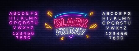 Black Friday Sale neon sign vector. Black Friday Bid discount Design template neon sign, light banner, neon signboard, nightly bright advertising, light inscription. Vector. Editing text neon sign
