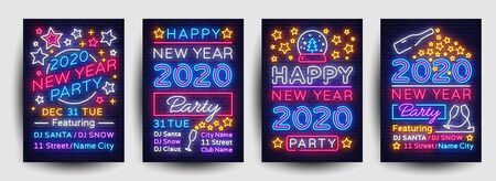 Happy New Year 2020 Party Poster collection neon vector. New Year 2020 celebration design invintation template, Christmas celebration bright neon brochure, typography invitation. Vector. Çizim