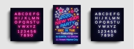 2020 Happy New Year Party Poster Neon Vector. 2020 New Year Design template for Seasonal Flyers and Greetings Card or Christmas themed invitations. Light Banner. Vector. Editing text neon sign.