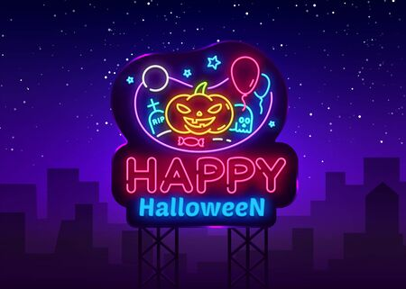Happy Halloween neon sign design template. Halloween neon icon, light banner design element colorful modern design trend, night bright advertising, bright sign. Vector illustration. Billboards.