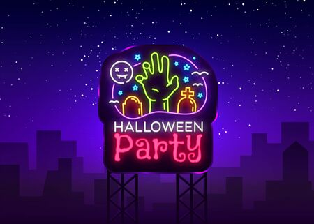 Halloween Party Billboard design template vector. Halloween greeting card, Light banner, neon style, night bright advertising. Zombie hand. Vector illustration