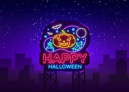 Happy Halloween Party design template vector. Halloween greeting card, Light banner, neon style, night bright advertising. Scary Pumpkin. Vector illustration. Billboard