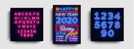2020 Happy New Year Party Poster Neon Vector. 2020 New Year Design template for Seasonal Flyers and Greetings Card or Christmas themed invitations. Light Banner. Vector. Editing text neon sign. Stok Fotoğraf - 132439197