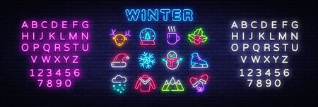 Winter neon icons set. Christmas neon signs design template. Bright signboard, light banner, Isolated icon. Vector Illustration. Editing text neon sign. Çizim
