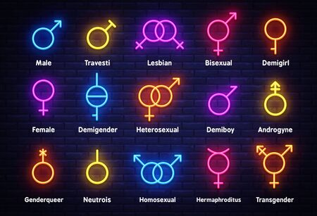 Gender neon icons set. Sexual orientation concept, collection light signs. Sign boards, light banner. Neon isolated icon, emblem, design template. Vector Illustration Stok Fotoğraf - 132644368