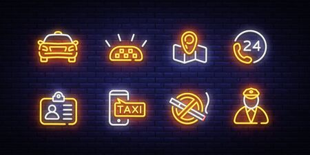 Taxi icons neon set. Taxi service neon signs design template. Bright signboard, light banner, Isolated icon. Vector Illustration. Stock Illustratie