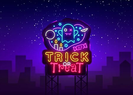 Halloween neon billboard vector. Trick or treat Halloween Design template with ghost and web for banner, poster, greeting card, party invitation, light banner. Isolated illustration Stok Fotoğraf - 132644369