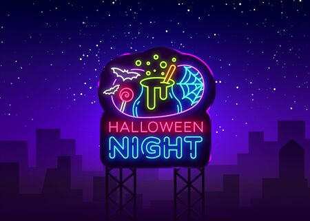 Halloween neon billboard vector. Halloween Night Design template and web for banner, poster, greeting card, party invitation, light banner. Isolated illustration