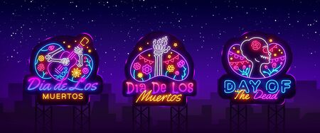 Day of the dead Neon signs set Vector. Dia de los moertos neon icons collection. Fiesta, holiday poster, party flyer, greeting card, design template. Vector illustration. Billboards. Stok Fotoğraf - 132439201
