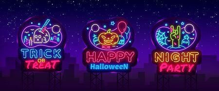 Halloween Neon signs set Vector. Design template, modern trend design, night signboard, night bright advertising, light banner, light art. Vector Billboards.