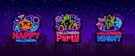 Halloween neon billboards collection vector. Halloween Party Design template and web for banner, poster, greeting card, party invitation, light banner. Isolated illustration Stok Fotoğraf - 132644374
