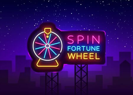 Fortune Wheel Neon Billboard Vector. Fortune Wheel neon sign, design template, modern trend design, night neon signboard, night bright advertising, light banner, light art. Vector illustration Stock fotó - 133485039