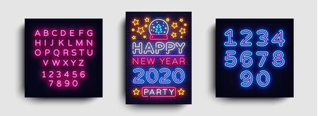 Happy New Year 2020 Party Neon Poster Vector. New year Party neon invitation, design template, modern trend design, Christmas celebretion, light banner, light art. Vector. Editing text neon sign. Çizim