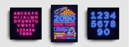 Happy New Year 2020 Party Neon Poster Vector. New year Party neon invitation, design template, modern trend design, Christmas celebretion, light banner, light art. Vector. Editing text neon sign. Stock Illustratie