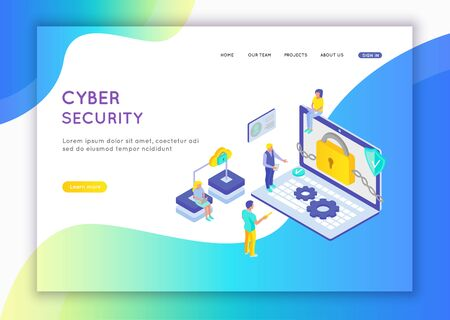 Cyber Security Infographic, banner with hero protect data and confidentiality. Can use for web banner, infographics. Flat isometric vector illustration isolated. 일러스트
