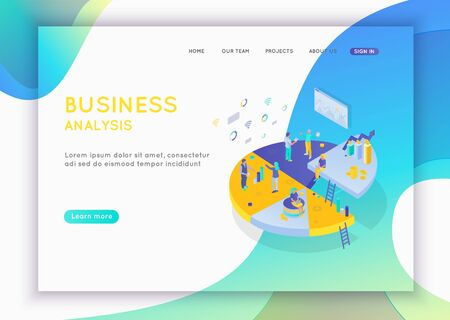 Business analysis concept. Graphic and audit documentation, economic analysis financial budget. Illustration Flat isometric vector background. Can use for web banner, infographics.