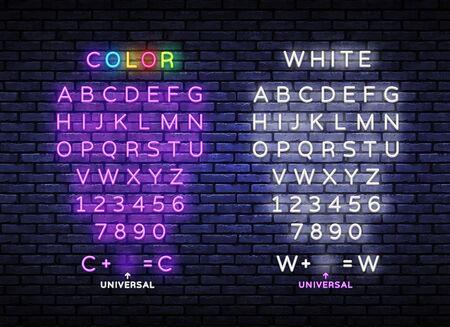 Neon light alphabet. Exclusive swatch color control. Neon light 3d alphabet, extra glowing font. Night symbol, modern trend design. Vector illustration Illusztráció