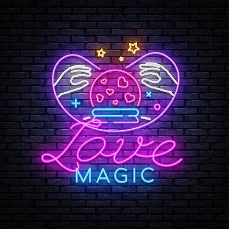 Love Magic neon sign vector. Love Concept Design template, light banner, night signboard, nightly bright advertising, light inscription. Vector illustration.