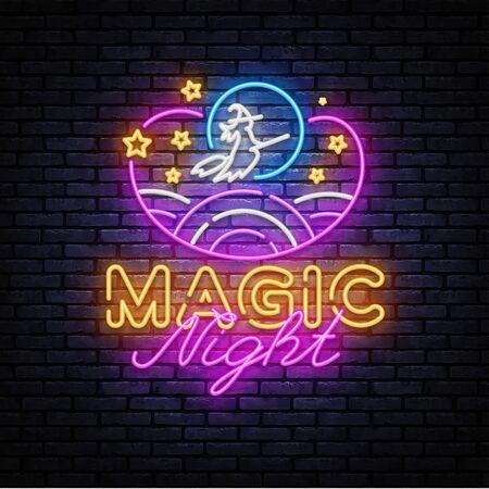 Magic Night Neon sign Vector. Magic Show neon poster, design template, modern trend design, night signboard, night bright advertising, light banner, light art. Vector illustration