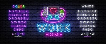 Work Home Neon concept coronavirus COVID-19. The company allows employees to work from home to avoid viruses. Vector illustration. Editing text neon sign Çizim