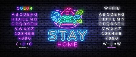 Stay home Neon Sign. Slogan with house and heart. Protection from coronavirus, COVID-19. Quarantine in the city. Vector illustration. Editing text neon sign