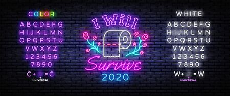 I will survive Neon Signs. Covid 19 neon concept with toilet paper. I survived the great toilet paper crisis of 2020. Modern trend design. Vector Illustration. Editing text neon sign Çizim