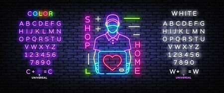 Delivery of goods during the prevention of coronovirus, Covid-19. Shop Home Neon concept. Vector illustration. Editing text neon sign Çizim