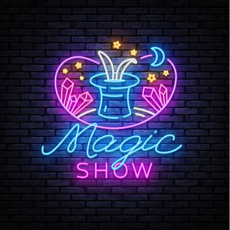 The magic show neon sign vector. Focus and entertainment Design template neon sign, light banner, nightly bright advertising, light inscription. Vector illustration 일러스트