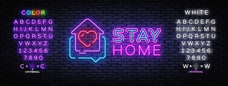 Stay Home Neon Sign. Quarantine coronavirus epidemic illustration for social media, stay home. Heart and home neon icon template. Vector illustration. Editing text neon sign 일러스트