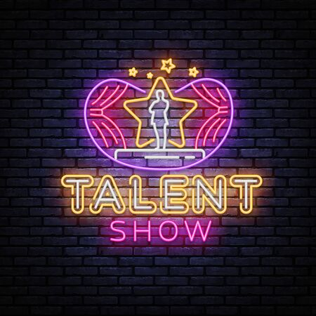 Talent Show neon sign vector. Talent Show Design template, light banner, night signboard, nightly bright advertising, light inscription. Vector illustration