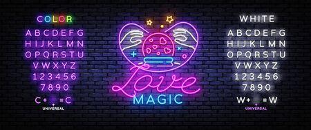 Love Magic neon sign vector. Love Concept Design template, light banner, night signboard, nightly bright advertising, light inscription. Vector illustration. Editing text neon sign