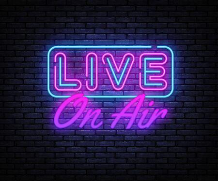 Live on Air Neon Text Vector. Radio On Air neon sign, design template, modern trend design, night signboard, night bright advertising, light banner, light art. Vector illustration
