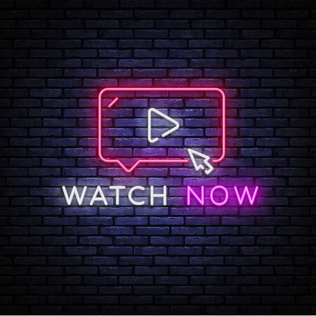 Watch Now neon sign vector. Play button Design template neon sign, light banner, nightly bright advertising, light inscription. Vector illustration