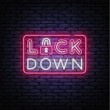 Lock Down neon sign vector. Protection Neon Design template, light banner, night signboard, nightly bright advertising, light inscription. Vector illustration