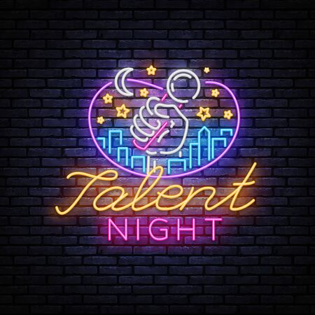 Talent Night Neon Signboard Vector. Talent Show neon sign, design template, modern trend design, night signboard, night bright advertising, light banner, light background. Vector illustration.