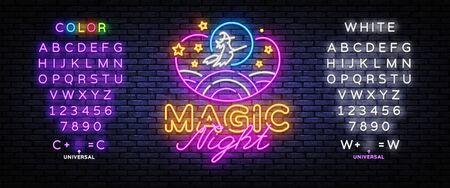 Magic Night Neon sign Vector. Magic Show neon poster, design template, modern trend design, night signboard, night bright advertising, light banner, light art. Vector. Editing text neon sign.