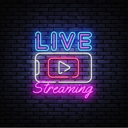 Live Streaming Only neon text vector design template. Live Video neon sign, light banner, design element, night bright advertising, bright sign. Vector illustration. Illusztráció