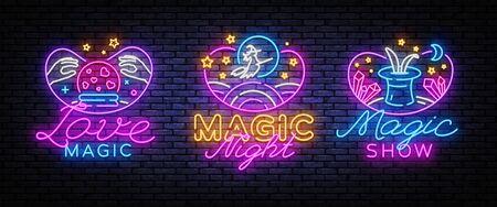 Magic neon signs set. Magic Show collection neon signs. Bright sign boards, light banner. Modern trend design, night light signboard, emblems, design template. Vector Illustration. Illusztráció