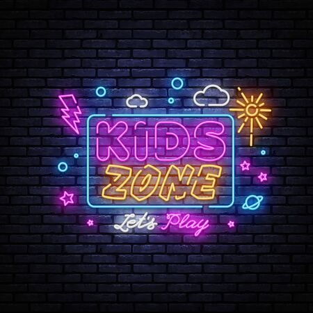 Kids Zone neon banner vector design template. Place for fun and play neon light banner, design element, night bright advertising, bright sign. Vector illustration