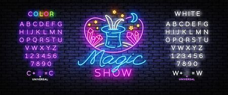 The magic show neon sign vector. Focus and entertainment Design template neon sign, light banner, nightly bright advertising, light inscription. Vector illustration. Editing text neon sign.