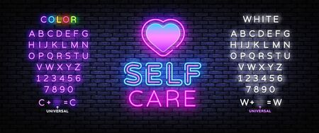 Self Care neon sign vector. Neon Design template, light banner, night signboard, nightly bright advertising, light inscription. Vector illustration. Editing text neon sign