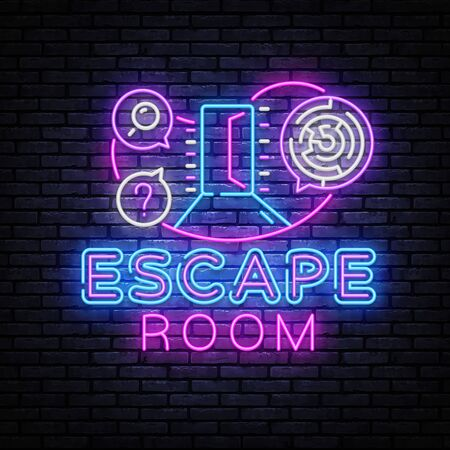 Real-life room escape neon sign vector. Quest game poster neon design template Çizim
