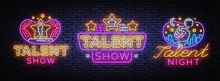 Talent Show set neon sign vector design template. Talent Night neon signs, light banner design element colorful modern design trend, night bright advertising, bright sign. Vector illustration