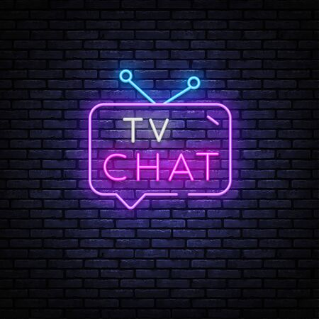 TV Chat neon sign vector. Chat robot template neon sign, light banner, nightly bright advertising, light inscription.