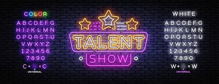 Talent Show neon sign vector. Talent Show Design template, light banner, night signboard, nightly bright advertising, light inscription.