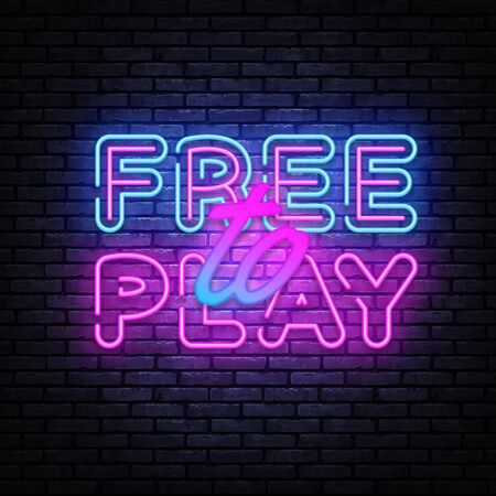 Free to Play Neon Text Vector. Play Game neon sign, design template, modern trend design, night signboard, night bright advertising, light banner, light art.