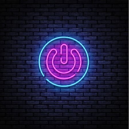 Button Power neon sign vector design template. Button On Off neon design, light banner, design element, night bright advertising, bright sign. Vector illustration.